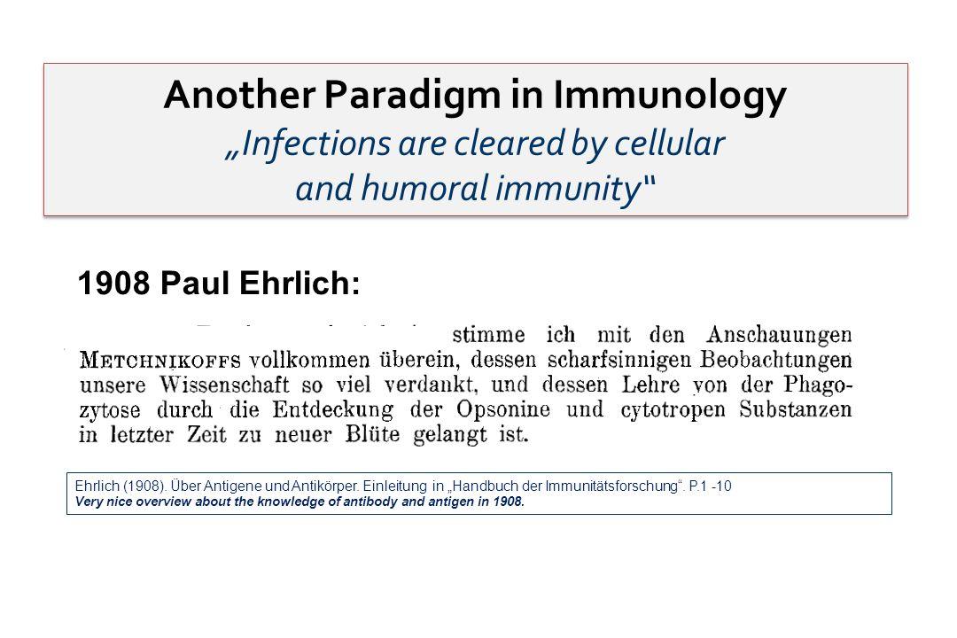 1908 Paul Ehrlich: Ehrlich (1908). Über Antigene und Antikörper. Einleitung in Handbuch der Immunitätsforschung. P.1 -10 Very nice overview about the