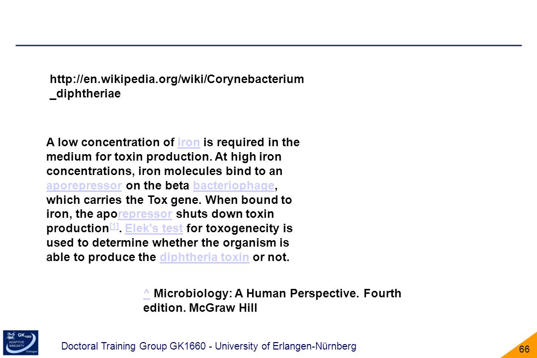 Doctoral Training Group GK1660 - University of Erlangen-Nürnberg 66 http://en.wikipedia.org/wiki/Corynebacterium _diphtheriae A low concentration of i