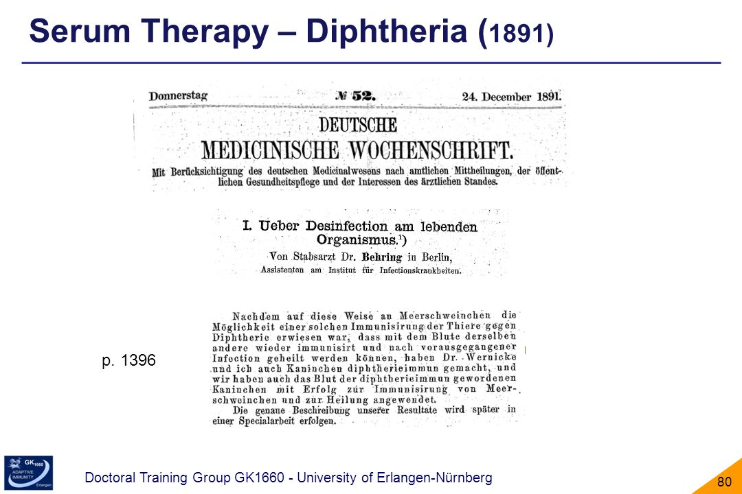 Doctoral Training Group GK1660 - University of Erlangen-Nürnberg 80 p. 1396 Serum Therapy – Diphtheria ( 1891)