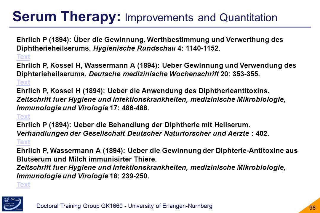 Doctoral Training Group GK1660 - University of Erlangen-Nürnberg 96 Ehrlich P (1894): Über die Gewinnung, Werthbestimmung und Verwerthung des Diphther