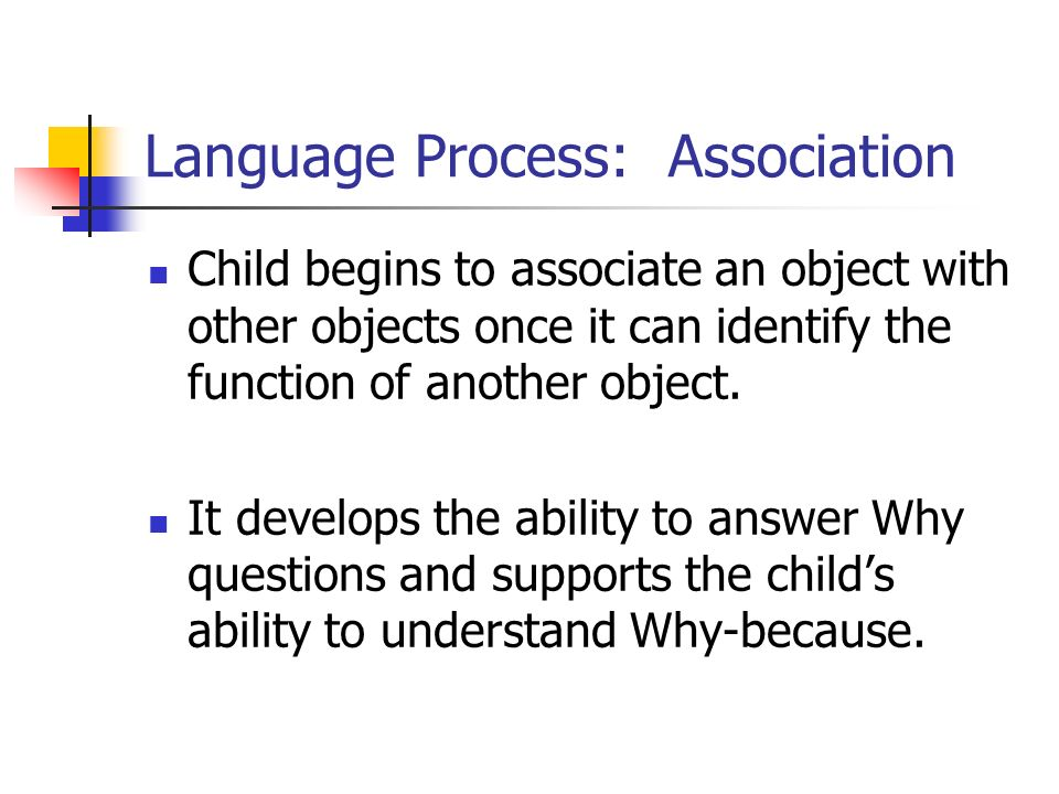 Language Process: Association Child begins to associate an object with other objects once it can identify the function of another object. It develops