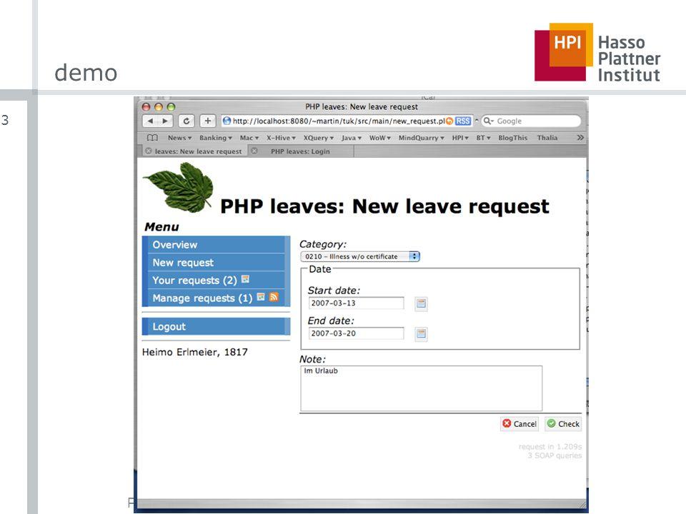 PHP & SAP | Martin Probst | 7. März 2007 3 demo
