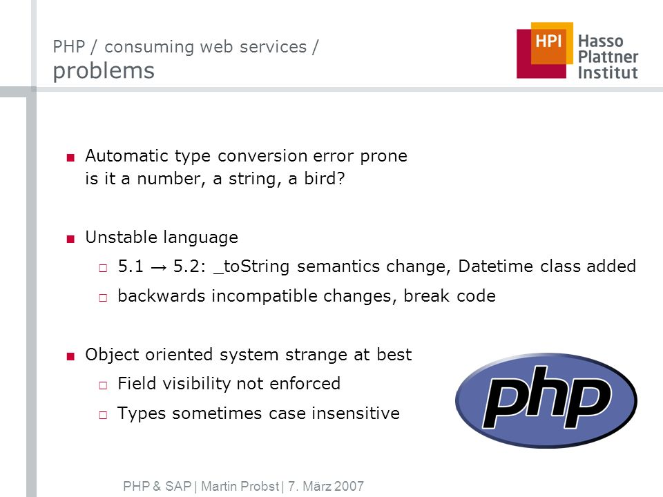 PHP & SAP | Martin Probst | 7.