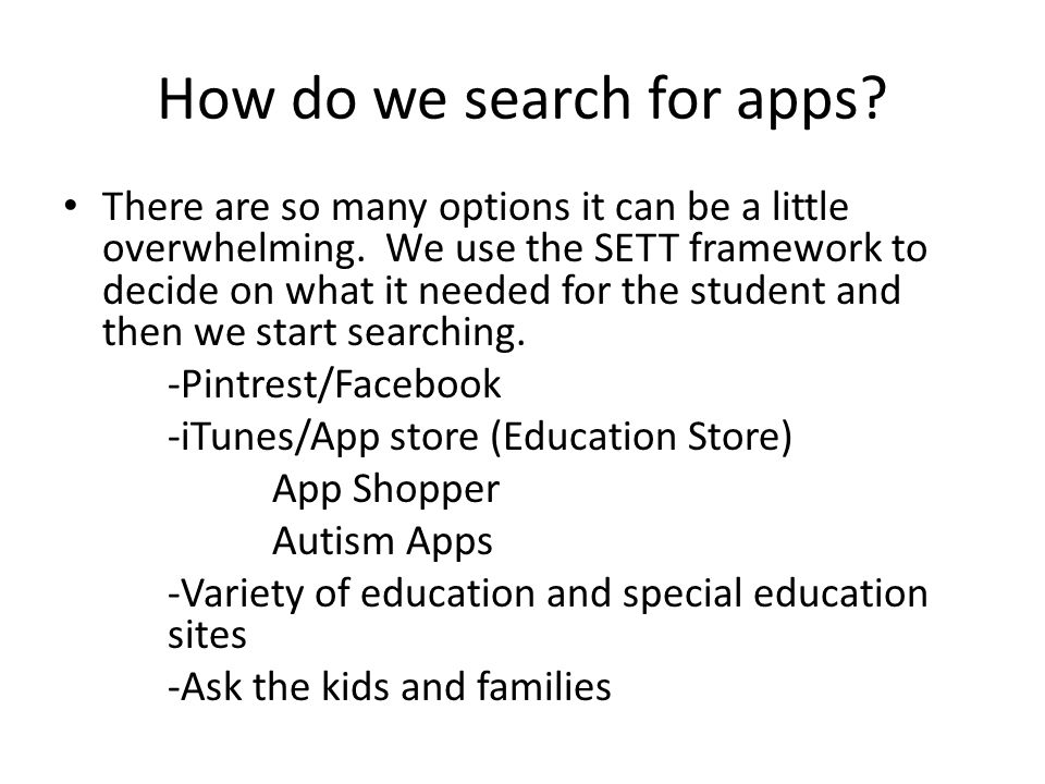How do we search for apps. There are so many options it can be a little overwhelming.