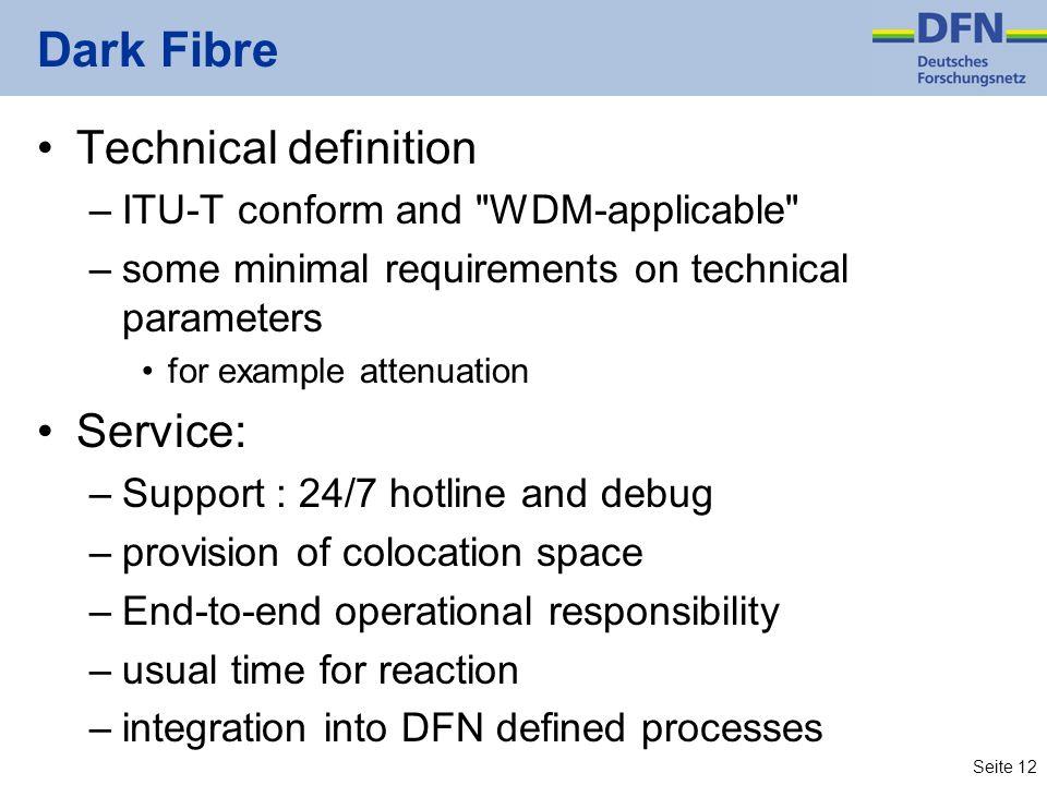 Seite 12 Dark Fibre Technical definition –ITU-T conform and