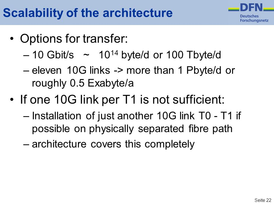 Seite 22 Scalability of the architecture Options for transfer: –10 Gbit/s ~ 10 14 byte/d or 100 Tbyte/d –eleven 10G links -> more than 1 Pbyte/d or roughly 0.5 Exabyte/a If one 10G link per T1 is not sufficient: –Installation of just another 10G link T0 - T1 if possible on physically separated fibre path –architecture covers this completely