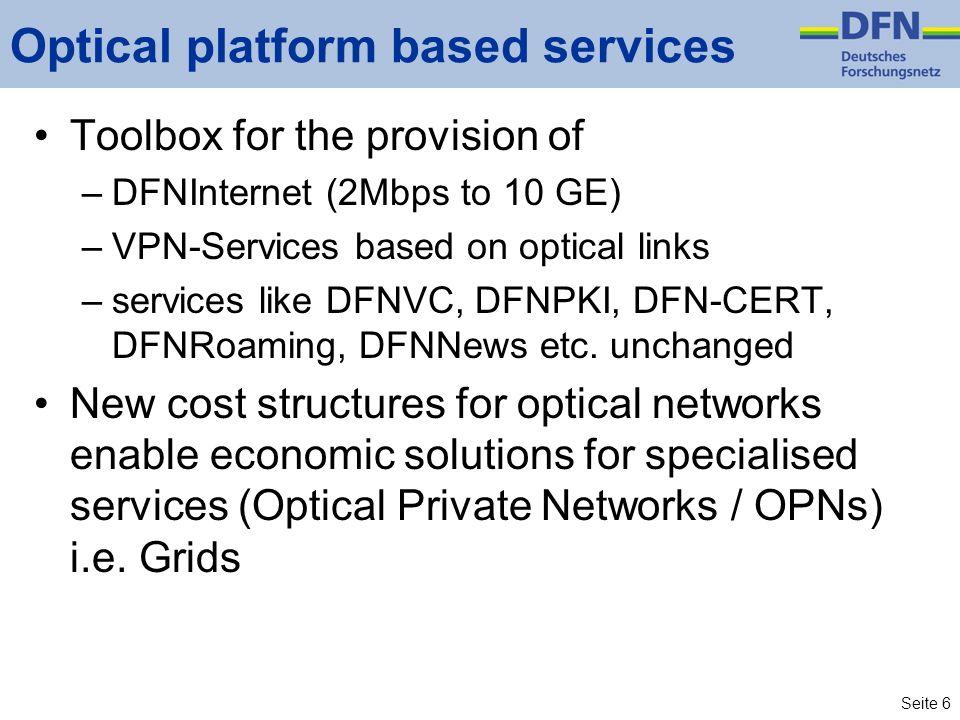 Seite 6 Optical platform based services Toolbox for the provision of –DFNInternet (2Mbps to 10 GE) –VPN-Services based on optical links –services like