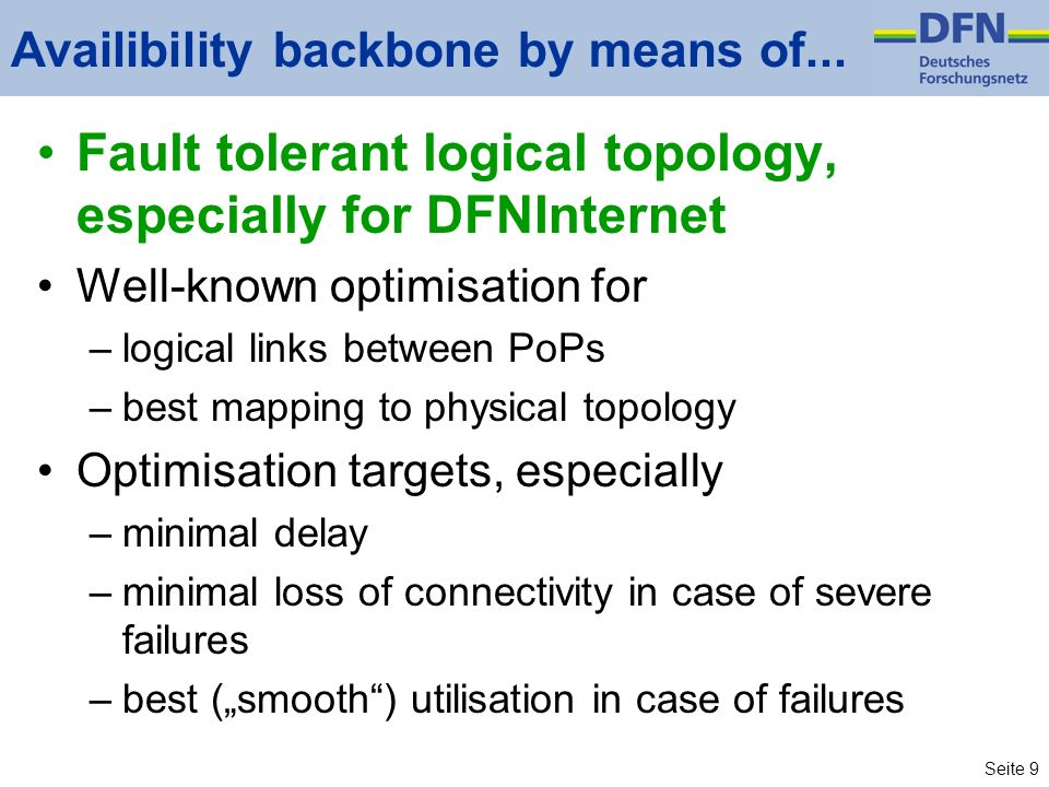 Seite 9 Availibility backbone by means of...