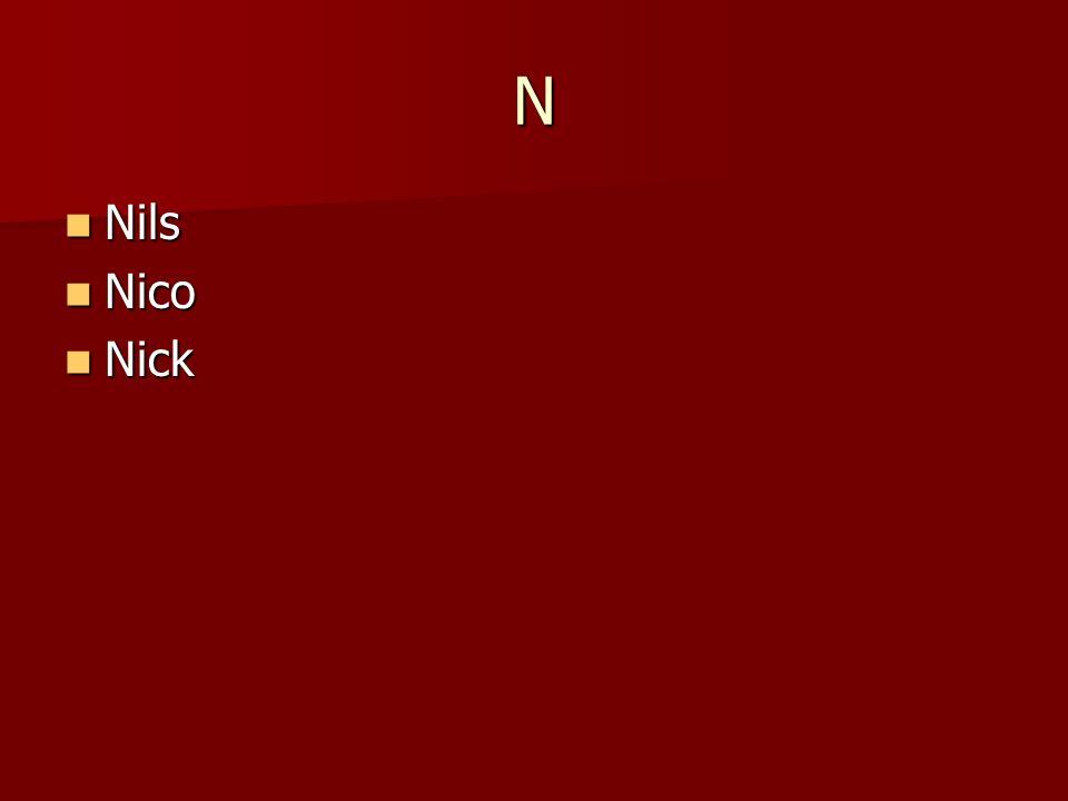 N Nils Nils Nico Nico Nick Nick