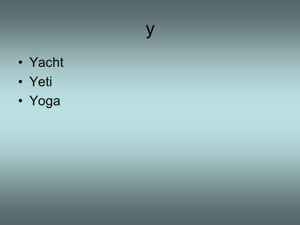 y Yacht Yeti Yoga
