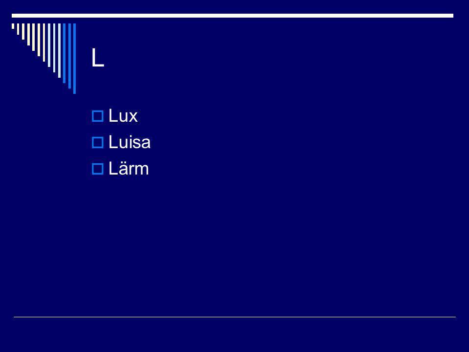 L Lux Luisa Lärm