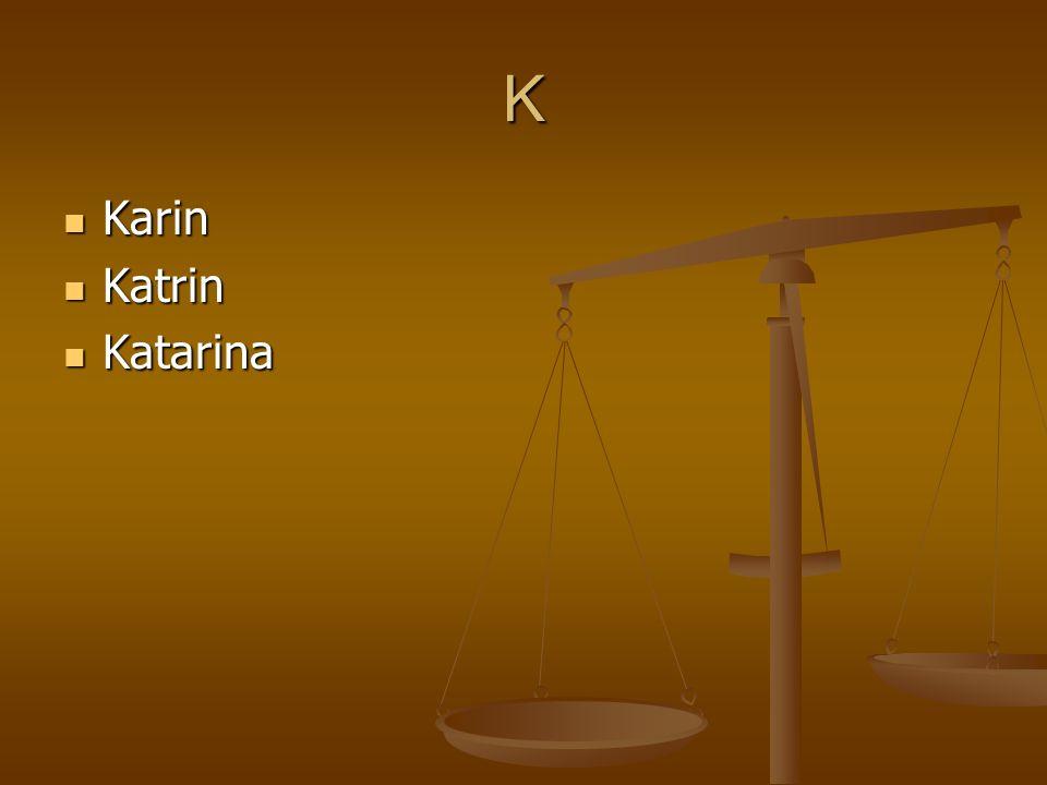 K Karin Karin Katrin Katrin Katarina Katarina
