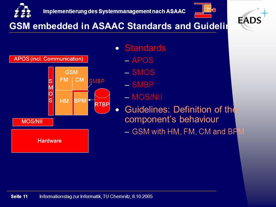 Informationstag zur Informatik, TU Chemnitz, 8.10.2005Seite 11 Implementierung des Systemmanagement nach ASAAC GSM GSM embedded in ASAAC Standards and
