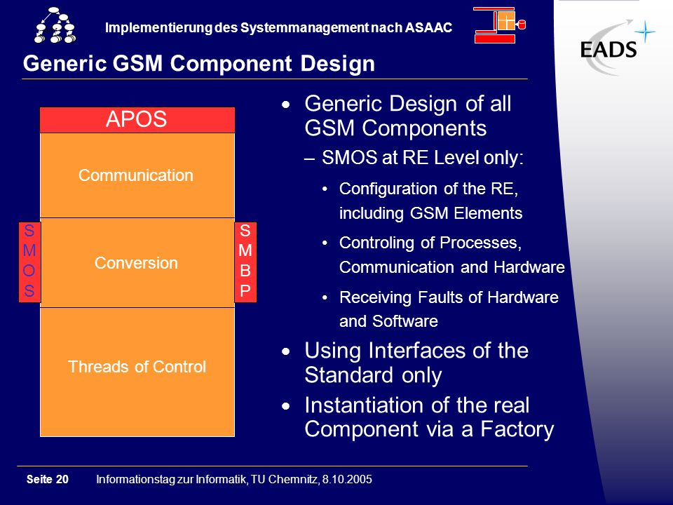 Informationstag zur Informatik, TU Chemnitz, 8.10.2005Seite 20 Implementierung des Systemmanagement nach ASAAC GSM Generic GSM Component Design Communication Conversion Threads of Control SMOSSMOS SMBPSMBP APOS Generic Design of all GSM Components –SMOS at RE Level only: Configuration of the RE, including GSM Elements Controling of Processes, Communication and Hardware Receiving Faults of Hardware and Software Using Interfaces of the Standard only Instantiation of the real Component via a Factory