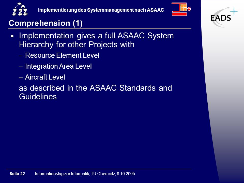 Informationstag zur Informatik, TU Chemnitz, 8.10.2005Seite 22 Implementierung des Systemmanagement nach ASAAC GSM Comprehension (1) Implementation gives a full ASAAC System Hierarchy for other Projects with –Resource Element Level –Integration Area Level –Aircraft Level as described in the ASAAC Standards and Guidelines