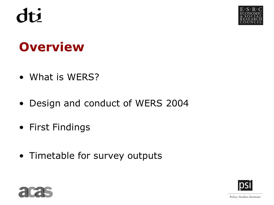 Overview What is WERS Design and conduct of WERS 2004 First Findings Timetable for survey outputs