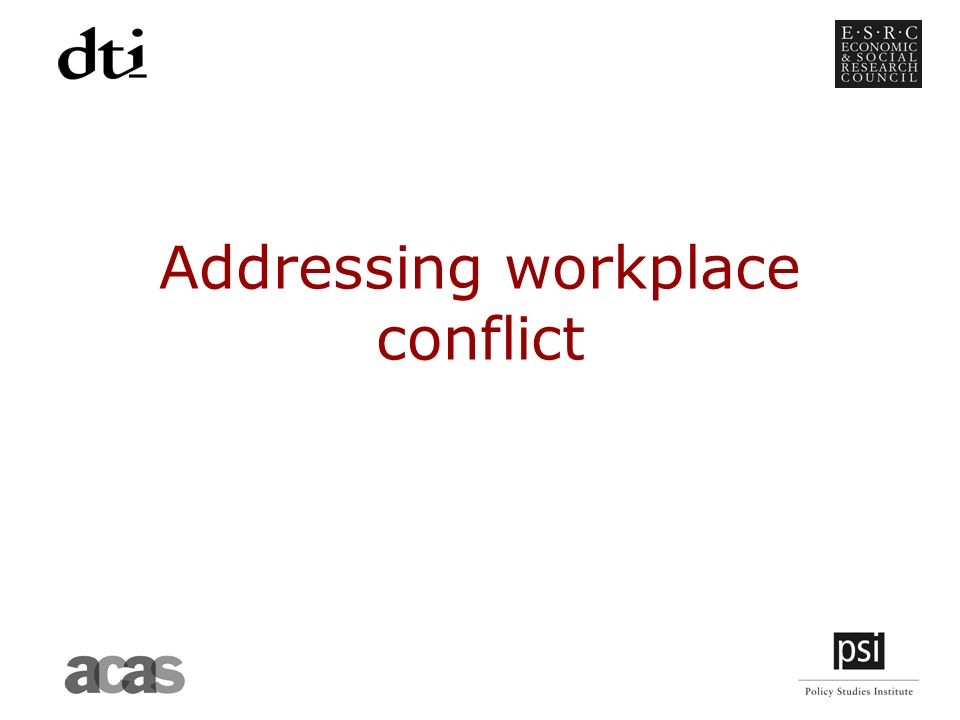 Addressing workplace conflict