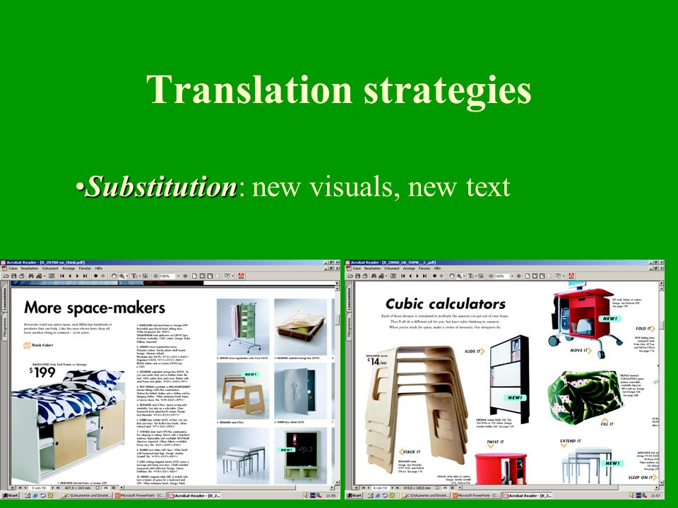 11 Translation strategies SubstitutionSubstitution: new visuals, new text