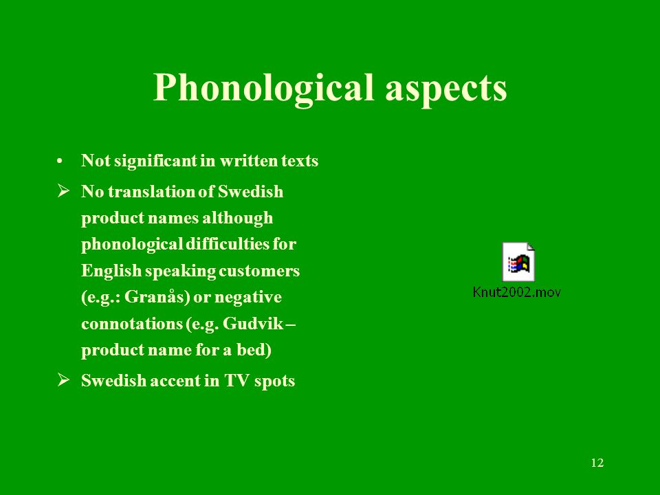 12 Phonological aspects Not significant in written texts No translation of Swedish product names although phonological difficulties for English speaki