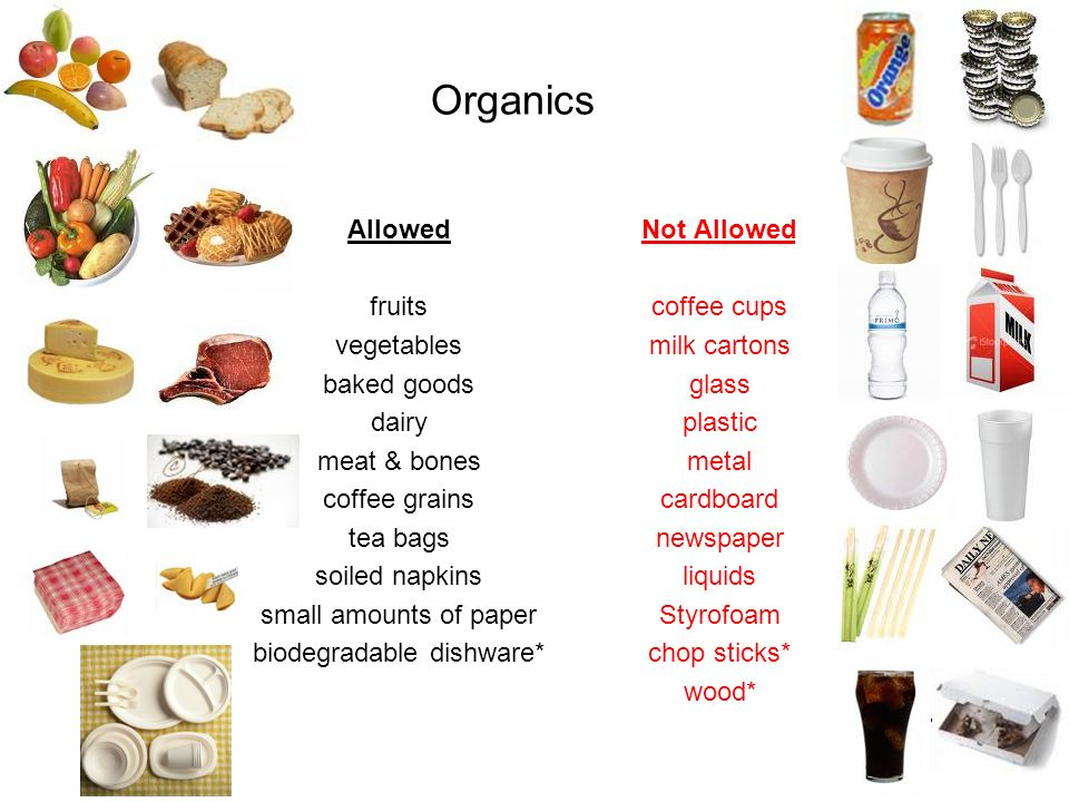 Organics Allowed fruits vegetables baked goods dairy meat & bones coffee grains tea bags soiled napkins small amounts of paper biodegradable dishware*