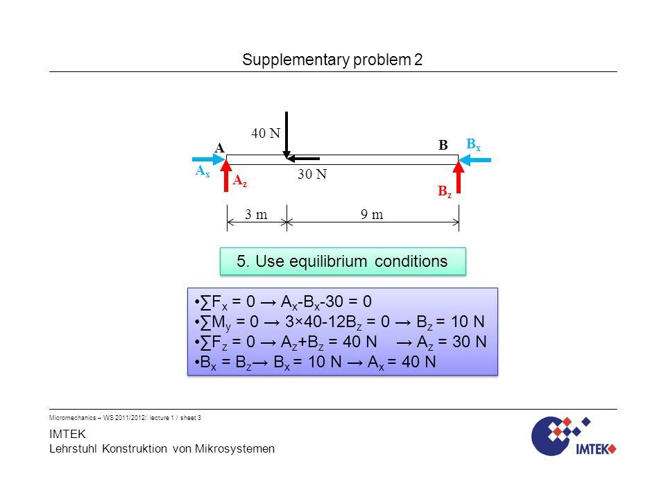 IMTEK Lehrstuhl Konstruktion von Mikrosystemen Micromechanics – WS 2011/2012/ lecture 1 / sheet 3 5.