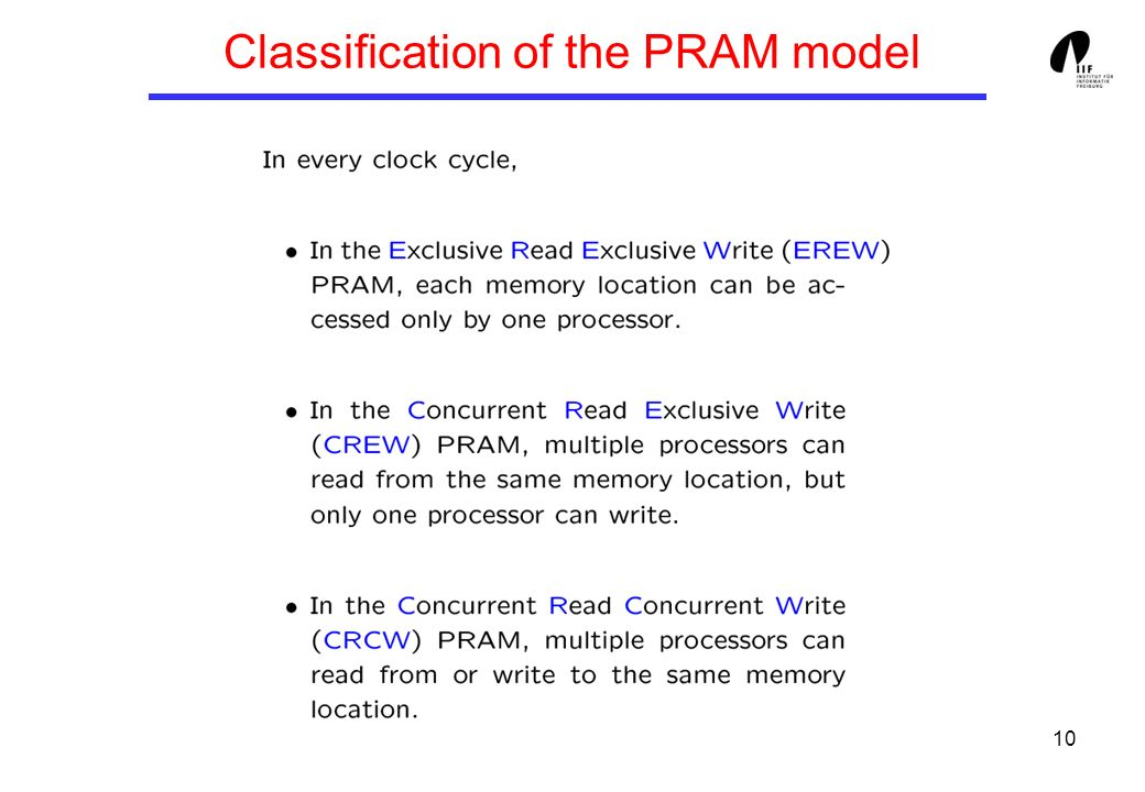 10 Classification of the PRAM model