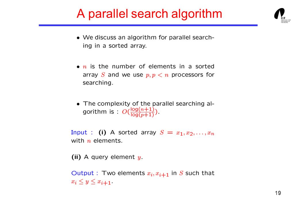 19 A parallel search algorithm