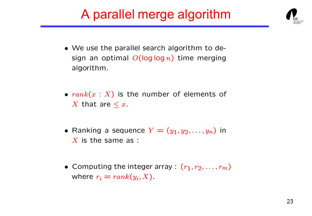 23 A parallel merge algorithm