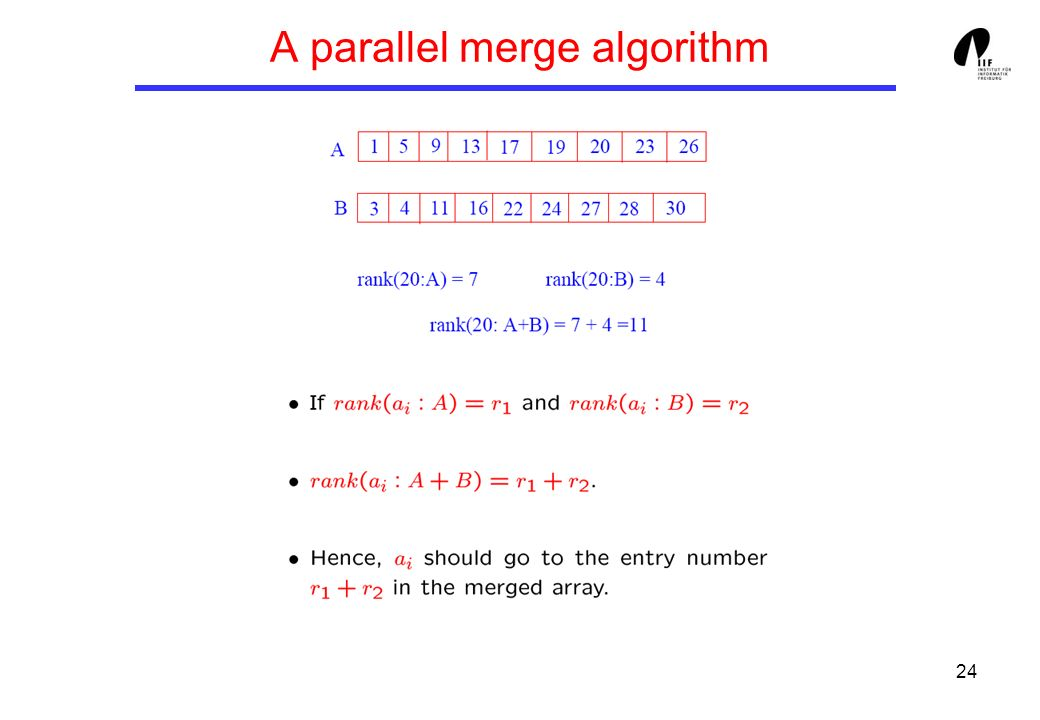 24 A parallel merge algorithm