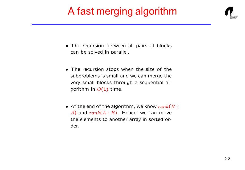 32 A fast merging algorithm