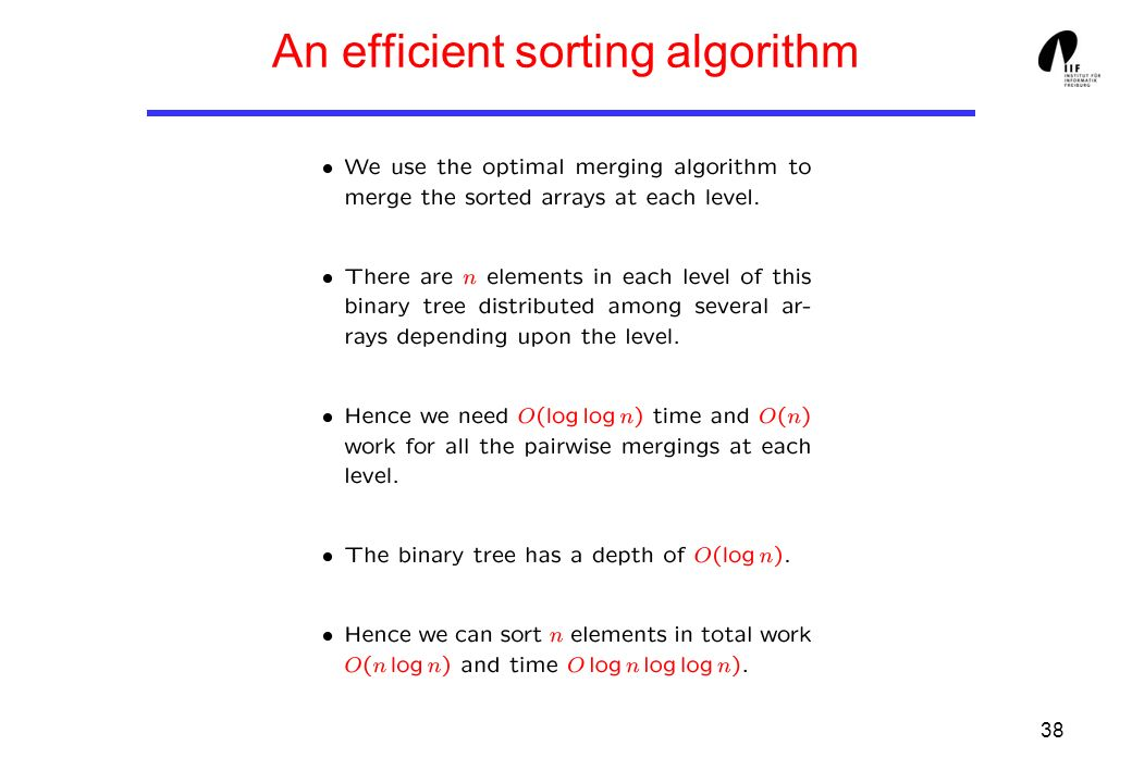 38 An efficient sorting algorithm
