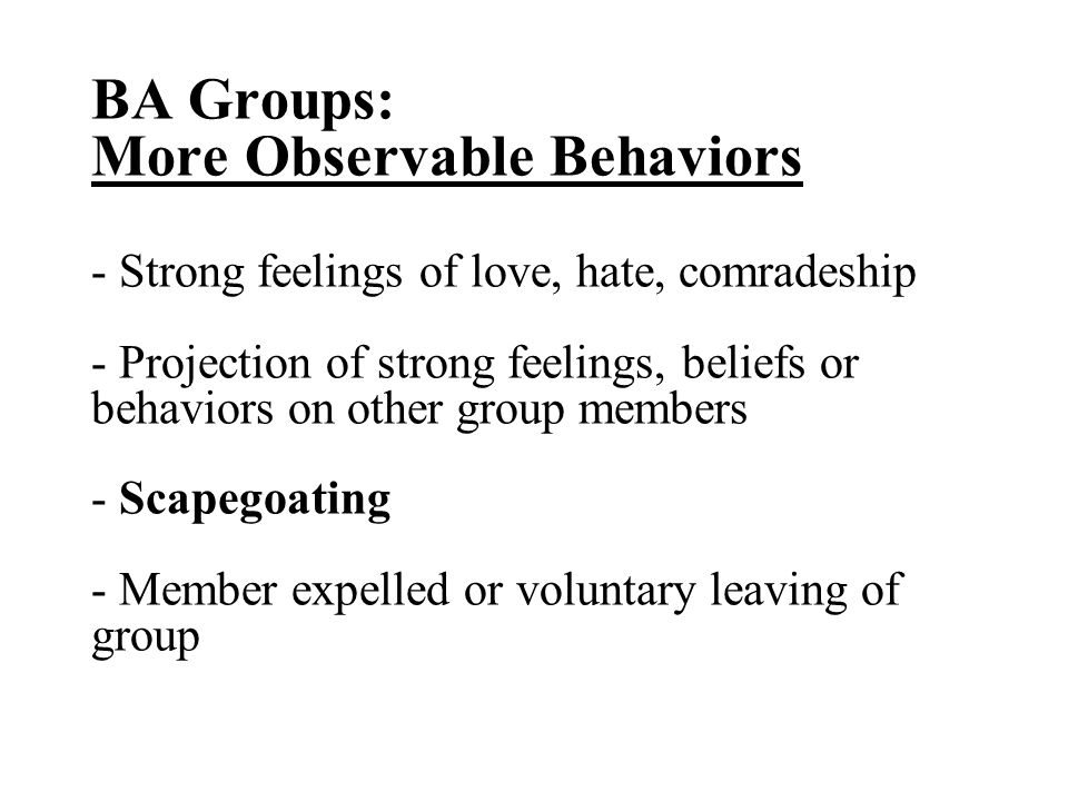 BA Groups: More Observable Behaviors - Strong feelings of love, hate, comradeship - Projection of strong feelings, beliefs or behaviors on other group members - Scapegoating - Member expelled or voluntary leaving of group