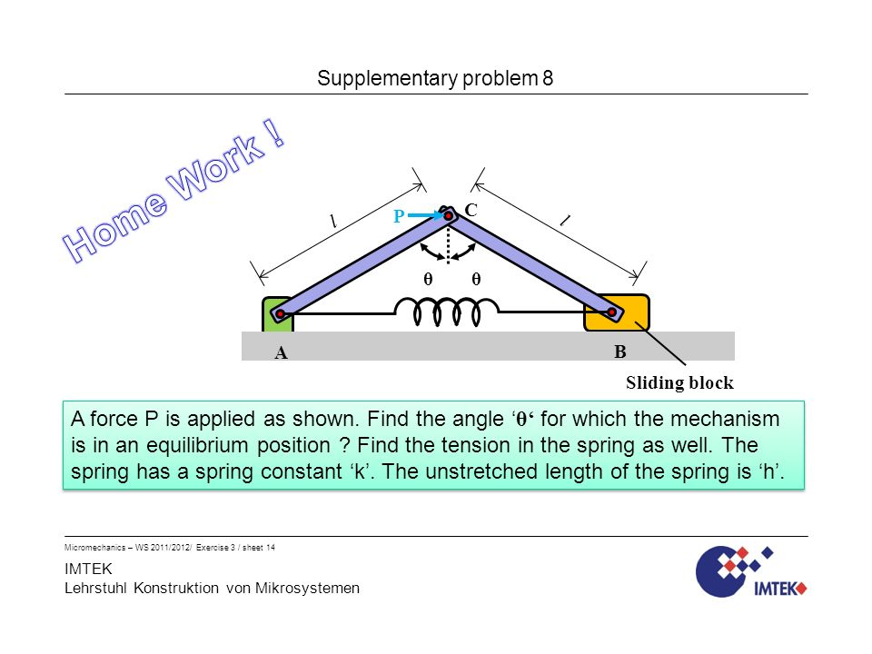 IMTEK Lehrstuhl Konstruktion von Mikrosystemen Micromechanics – WS 2011/2012/ Exercise 3 / sheet 14 Supplementary problem 8 A force P is applied as shown.