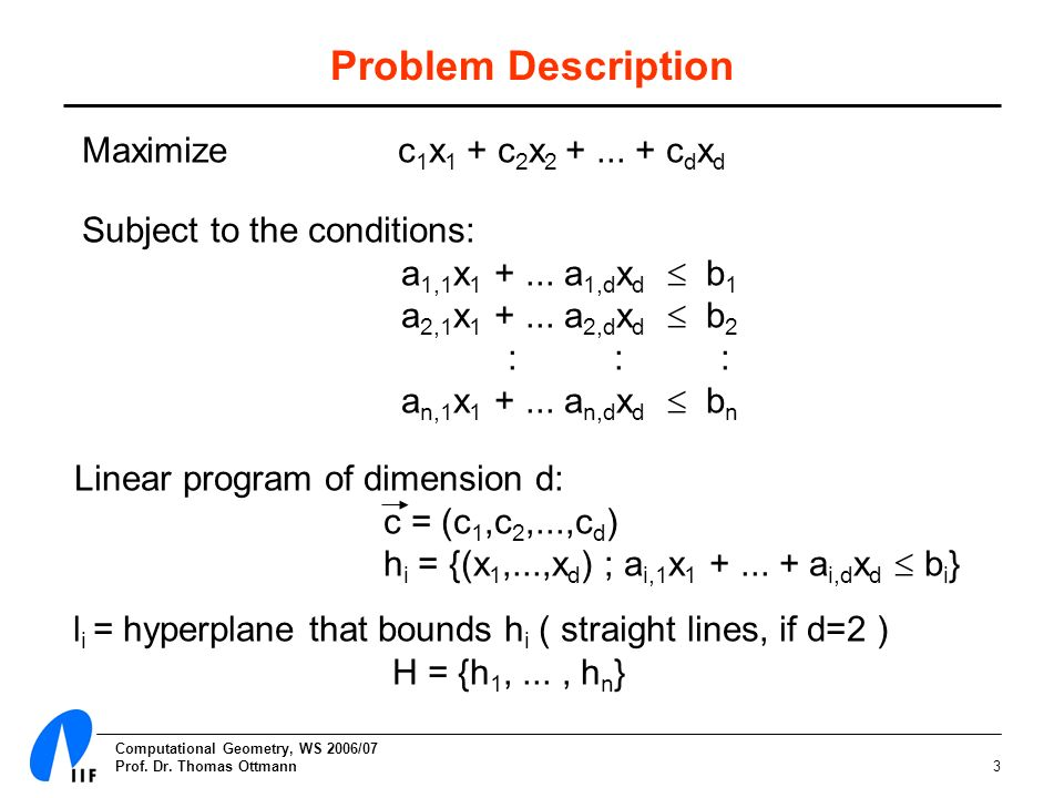 Computational Geometry, WS 2006/07 Prof. Dr.