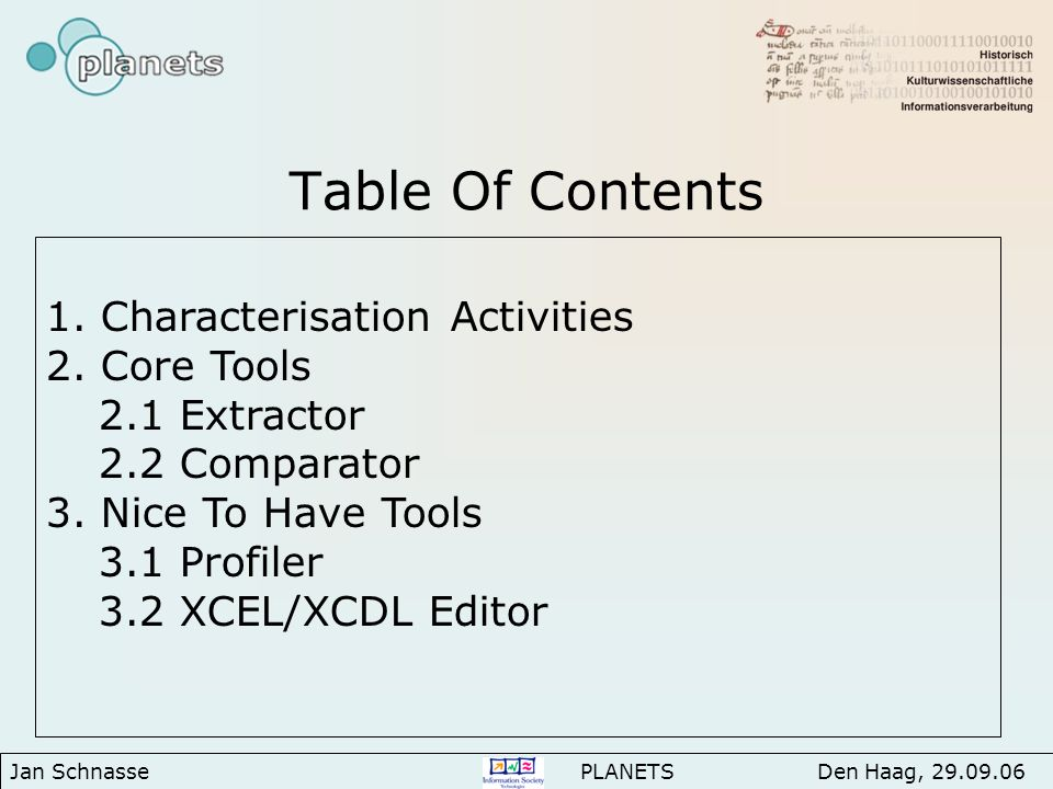Table Of Contents 1. Characterisation Activities 2.