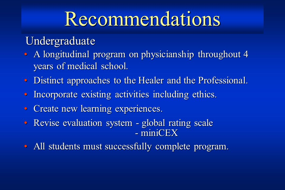 Recommendations A longitudinal program on physicianship throughout 4 years of medical school.A longitudinal program on physicianship throughout 4 year