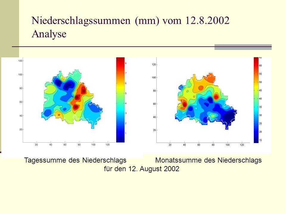 Niederschlagssummen (mm) vom 12.8.2002 Analyse Tagessumme des Niederschlags Monatssumme des Niederschlags für den 12.