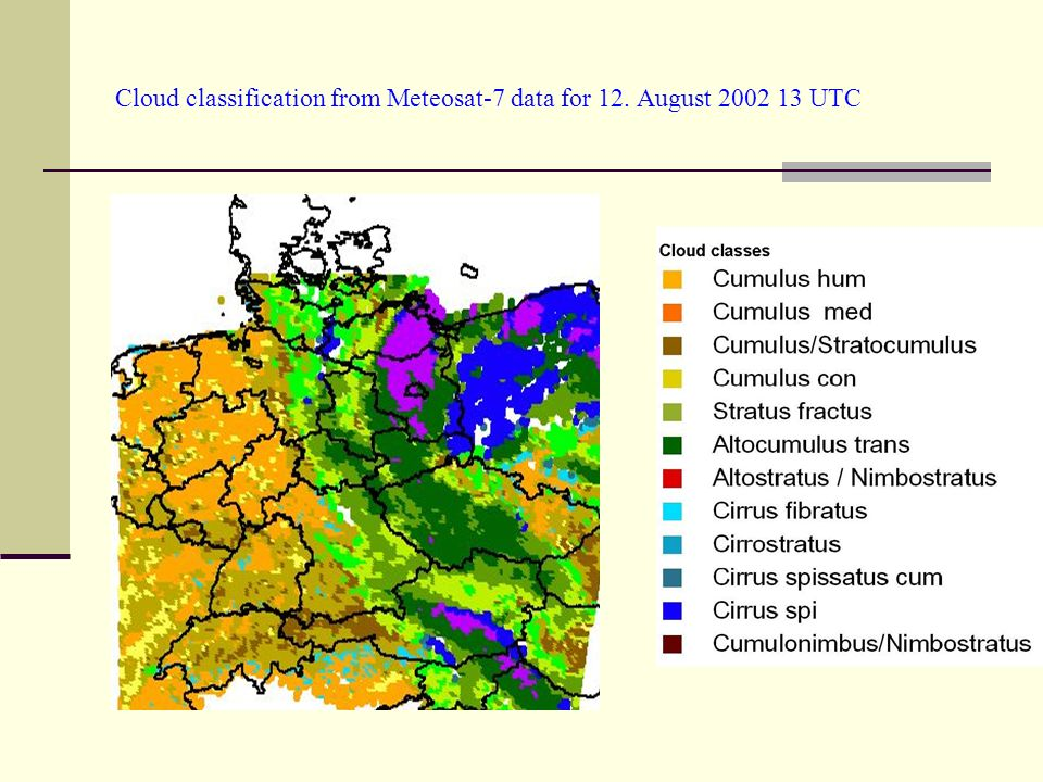 Cloud classification from Meteosat-7 data for 12. August 2002 13 UTC