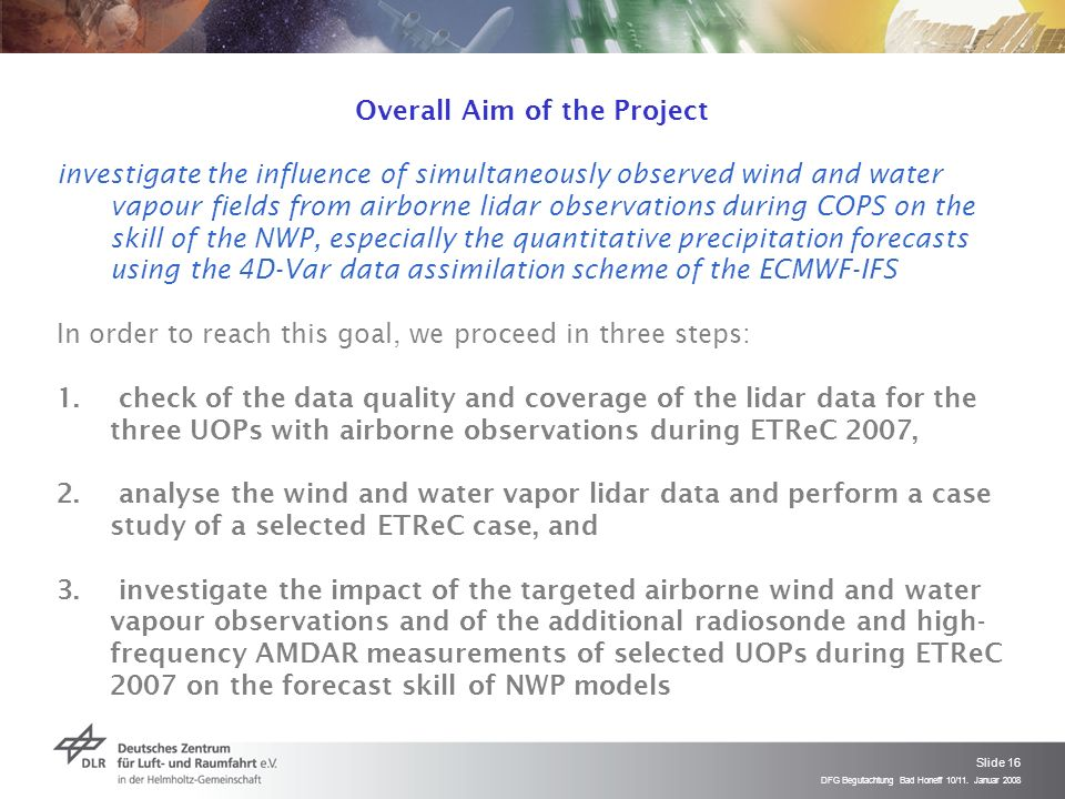 DFG Begutachtung Bad Honeff 10/11. Januar 2008 Slide 16 Overall Aim of the Project investigate the influence of simultaneously observed wind and water