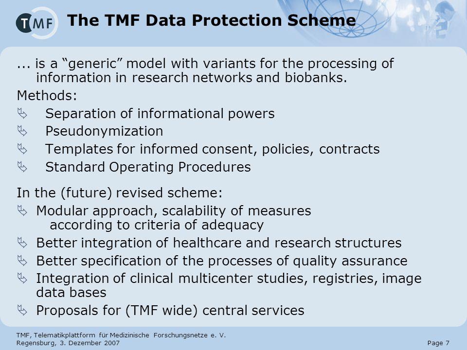 TMF, Telematikplattform für Medizinische Forschungsnetze e. V. Regensburg, 3. Dezember 2007 Page 7 The TMF Data Protection Scheme... is a generic mode