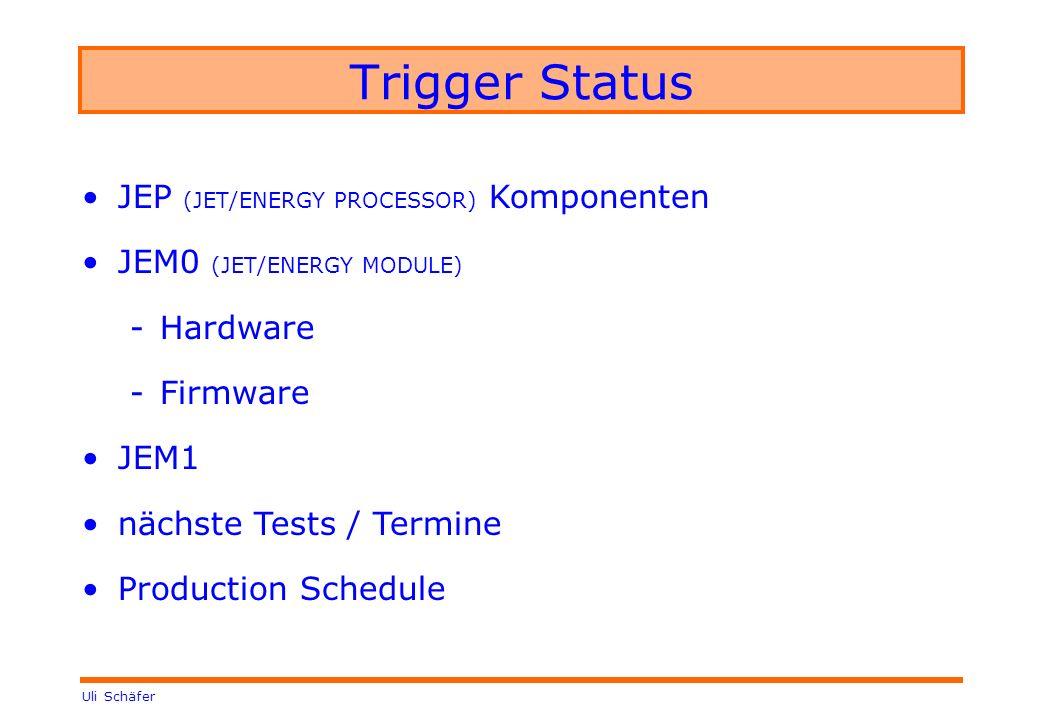 Uli Schäfer Trigger Status JEP (JET/ENERGY PROCESSOR) Komponenten JEM0 (JET/ENERGY MODULE) -Hardware -Firmware JEM1 nächste Tests / Termine Production