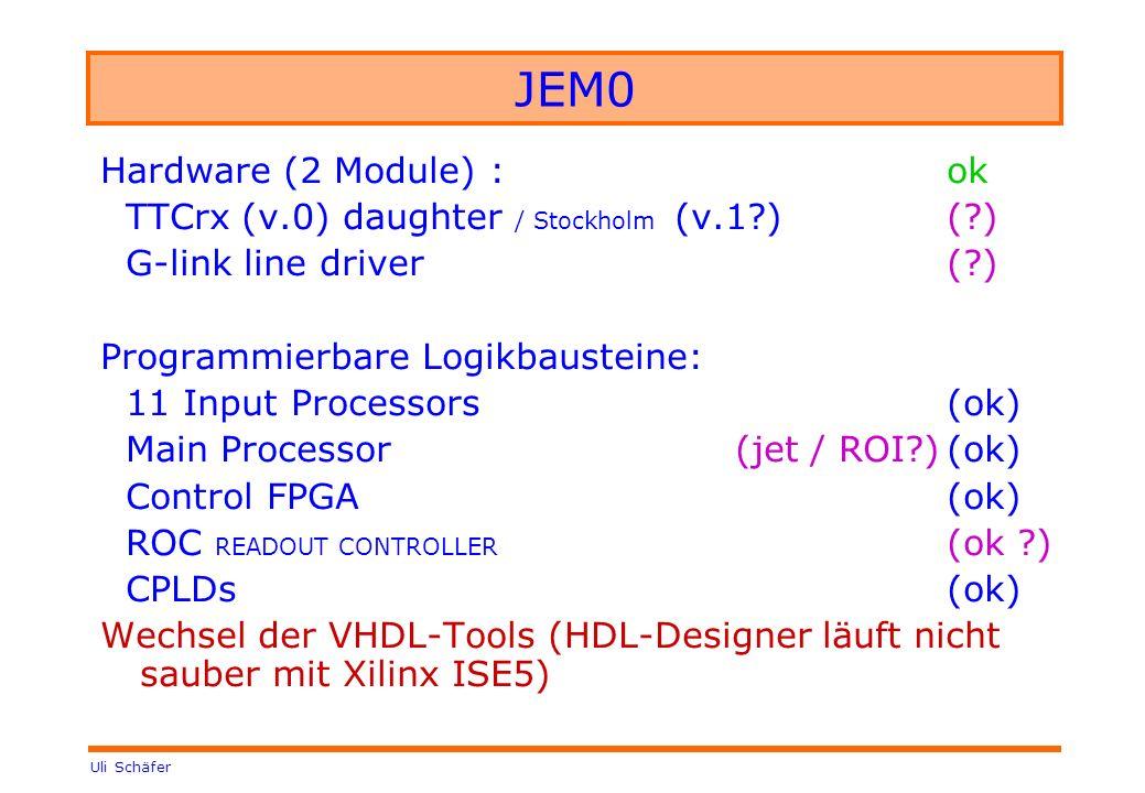 Uli Schäfer JEM0 Hardware (2 Module) :ok TTCrx (v.0) daughter / Stockholm (v.1?) (?) G-link line driver(?) Programmierbare Logikbausteine: 11 Input Pr
