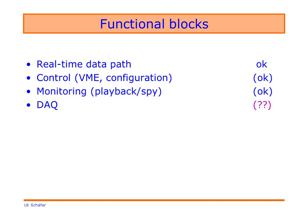 Uli Schäfer Functional blocks Real-time data path ok Control (VME, configuration)(ok) Monitoring (playback/spy) (ok) DAQ( )
