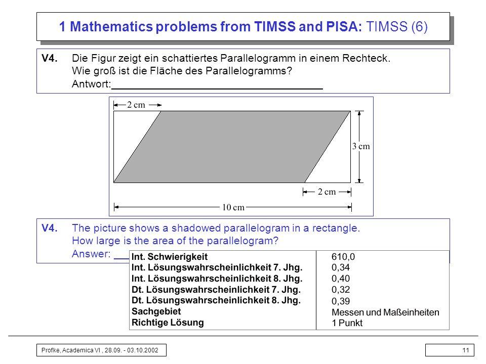 Profke, Academica VI, 28.09. - 03.10.200211 1 Mathematics problems from TIMSS and PISA: TIMSS (6) V4.Die Figur zeigt ein schattiertes Parallelogramm i