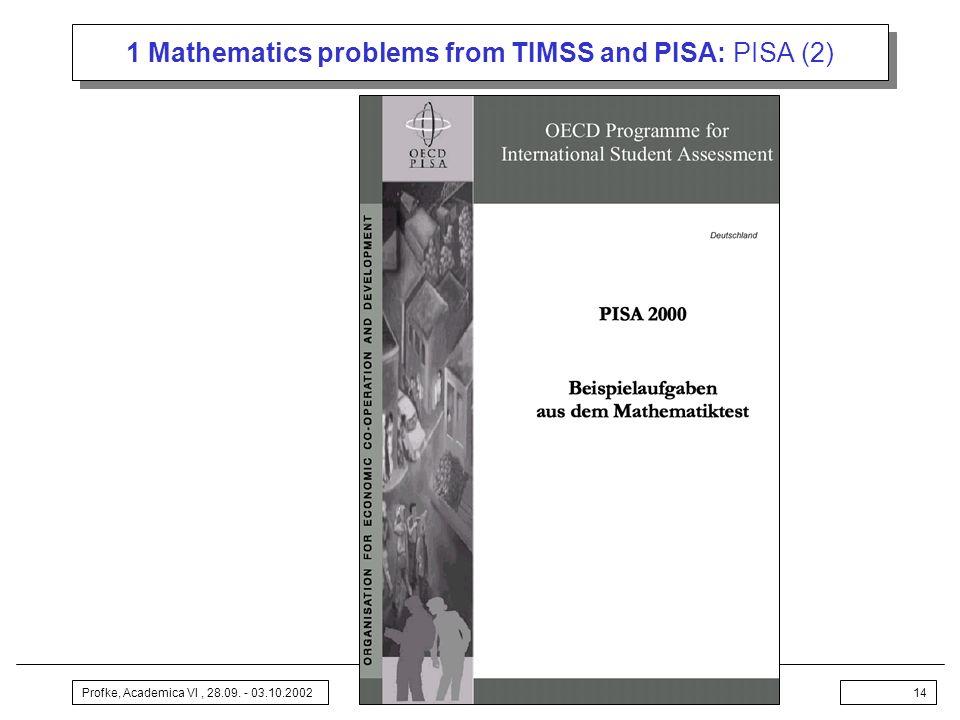 Profke, Academica VI, 28.09. - 03.10.200214 1 Mathematics problems from TIMSS and PISA: PISA (2)