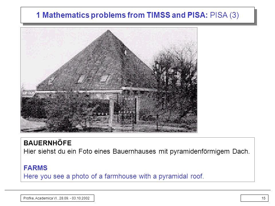 Profke, Academica VI, 28.09. - 03.10.200215 1 Mathematics problems from TIMSS and PISA: PISA (3) BAUERNHÖFE Hier siehst du ein Foto eines Bauernhauses