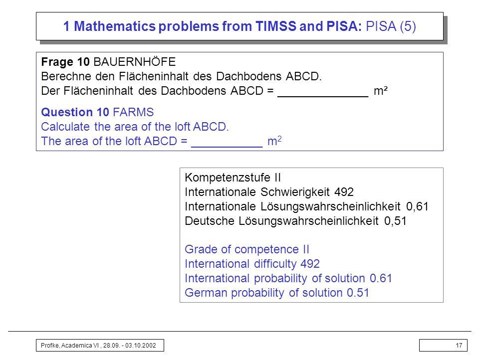 Profke, Academica VI, 28.09. - 03.10.200217 1 Mathematics problems from TIMSS and PISA: PISA (5) Frage 10 BAUERNHÖFE Berechne den Flächeninhalt des Da