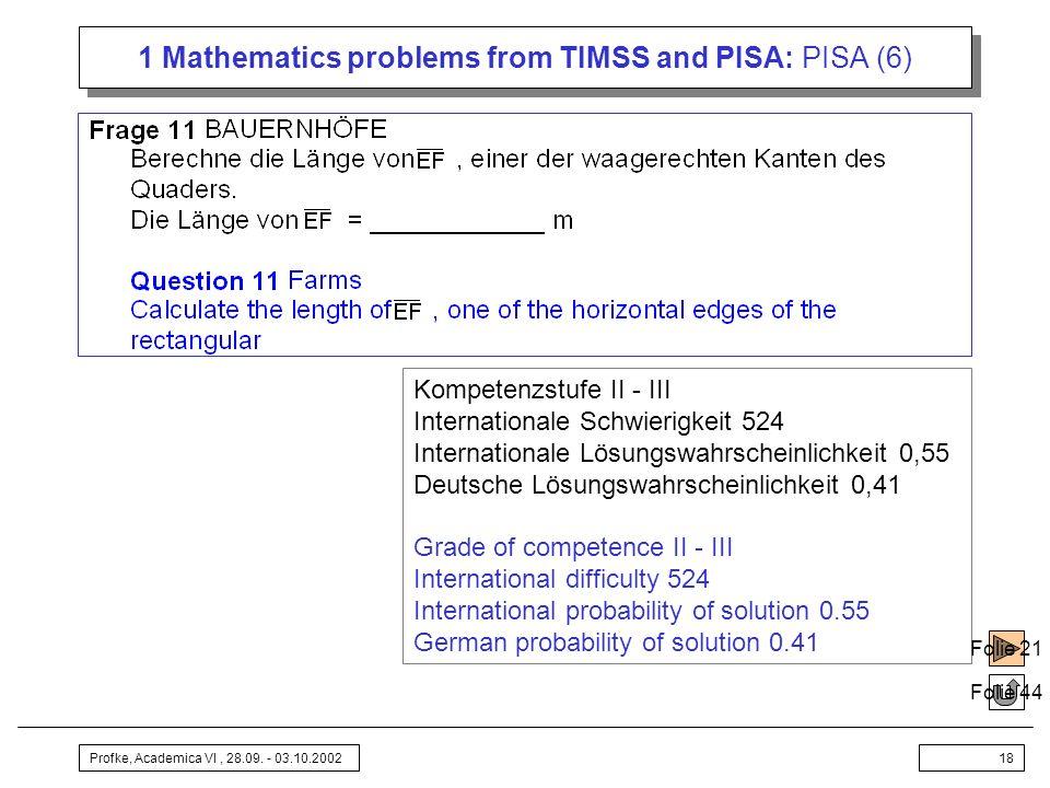 Profke, Academica VI, 28.09. - 03.10.200218 1 Mathematics problems from TIMSS and PISA: PISA (6) Folie 44 Kompetenzstufe II - III Internationale Schwi