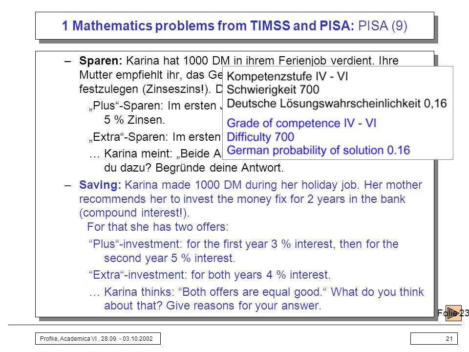 Profke, Academica VI, 28.09. - 03.10.200221 1 Mathematics problems from TIMSS and PISA: PISA (9) –Sparen: Karina hat 1000 DM in ihrem Ferienjob verdie