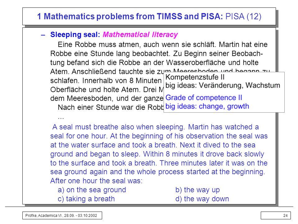 Profke, Academica VI, 28.09. - 03.10.200224 1 Mathematics problems from TIMSS and PISA: PISA (12) –Sleeping seal: Mathematical literacy Eine Robbe mus